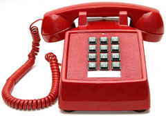 red touch-tone phone, for efficiently dialing telephone numbers